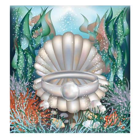 Underwater card with platinum ring and pearls Vector