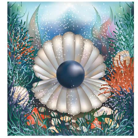 Onderwater achtergrond met zwarte parel illustratie Stock Illustratie