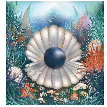 millionaire: Underwater background with black pearl illustration