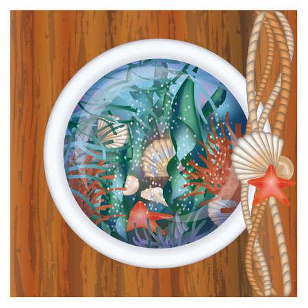 ventana ojo de buey: Env�e ventana de ojo de buey con la escena bajo el agua