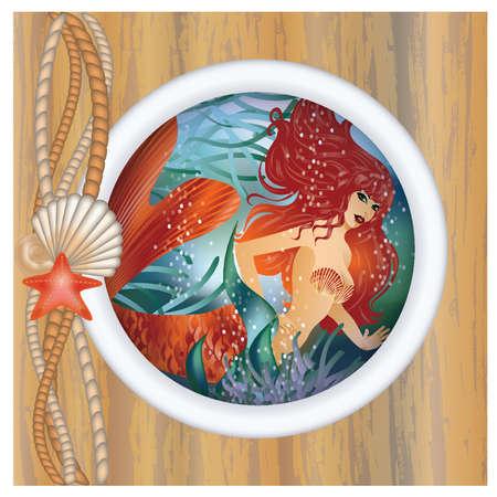 underwater world: Beautiful mermaid in porthole