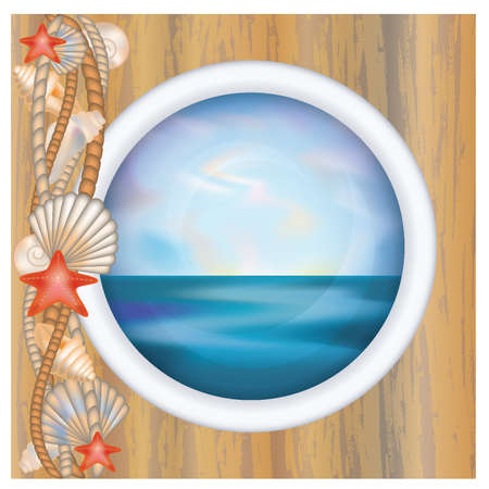 Porthole window with ocean scene