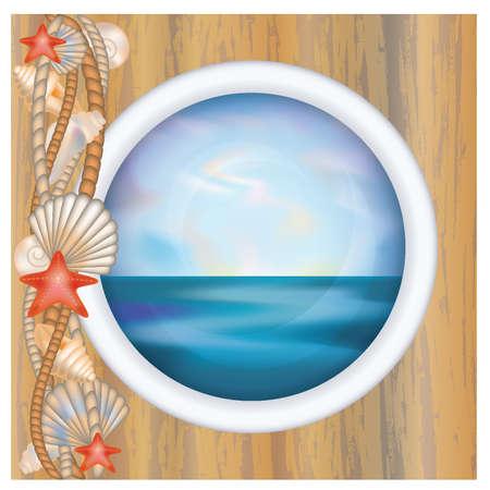 metallic seaweed: Porthole window with ocean scene