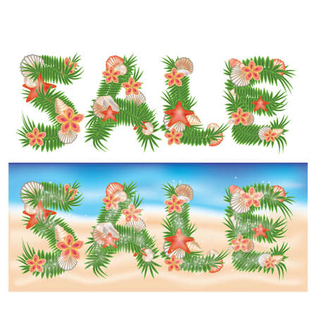 Summer tropical sale banners. vector illustration  Vector