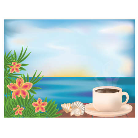 lunch break: Summer card with morning coffee, vector illustration