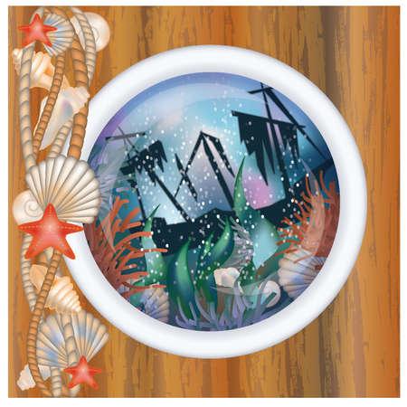 ventana ojo de buey: Ojo de buey ventana con barco hundido, ilustraci�n vectorial