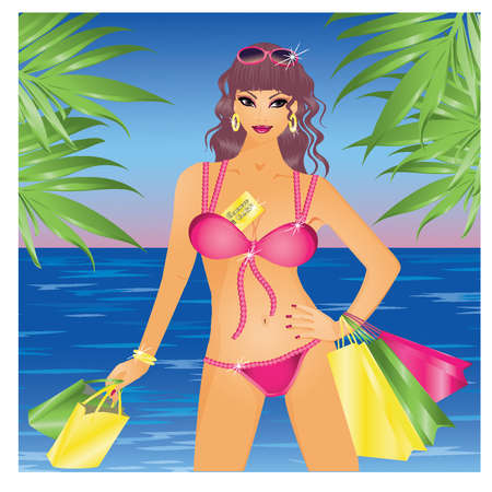 Summer girl  in bikini with shopping bags, vector illustration Vector