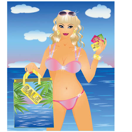 sexy business woman: Summer girl with discount card  Illustration
