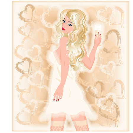 Beautiful sexy bride with champagne, vector illustration Vector