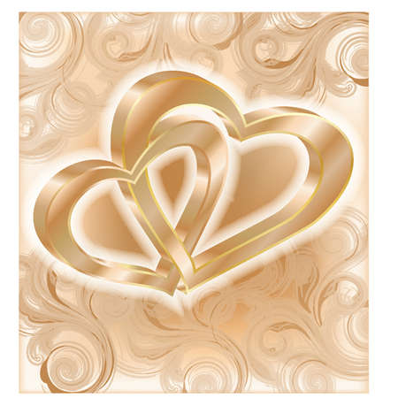 golden heart: Two golden hearts, wedding card, vector illustration
