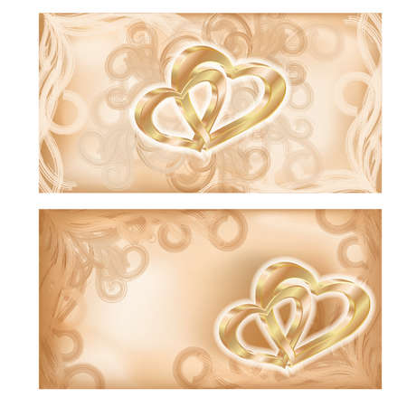Set wedding banners with two golden hearts, vector illustration Vector