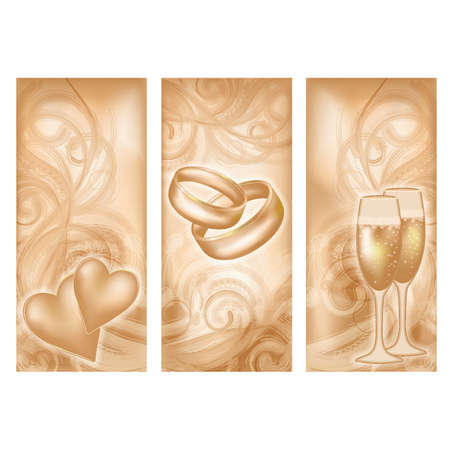 Stel verticale bruiloft banners, vector illustratie