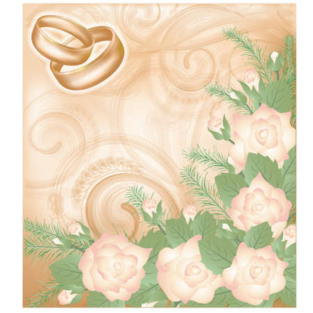 Wedding background with golden rings, vector illustration Vector