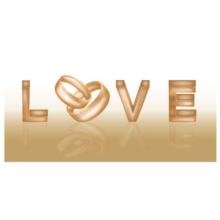 Love banner with two wedding rings, vector illustration Vector