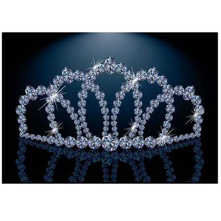 Pretty diamond princess diadem, vector illustration Vector