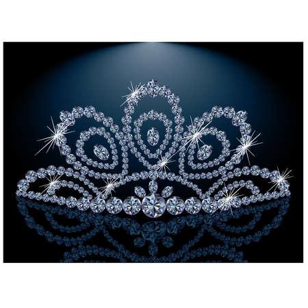 Diamond Diadem feminine wedding Vector
