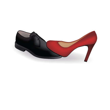 Female and man s shoes Vector