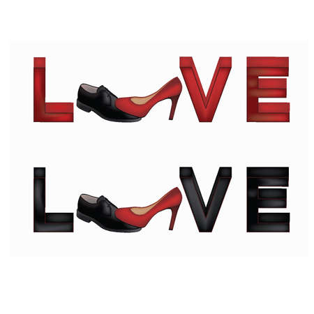 Love banner with female and man s shoes Vector