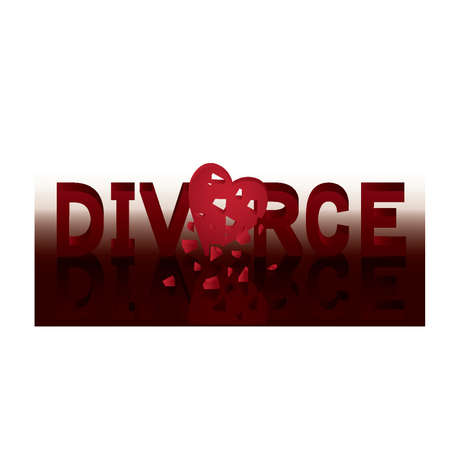 matrimonial: Divorce banner with red heart