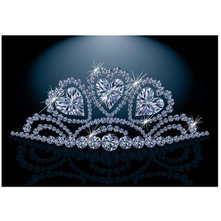 queen diamonds: Diadema principessa con il cuore di diamante Vettoriali