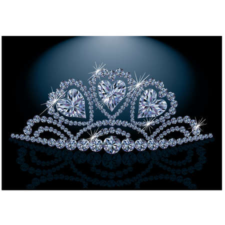 Princess diadem with diamond hearts  Vector