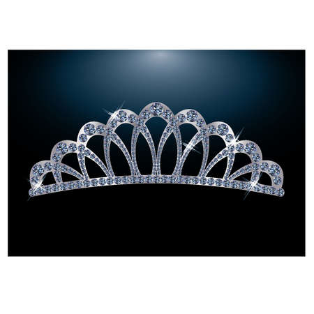 Silver diamond diadem for princess Vector