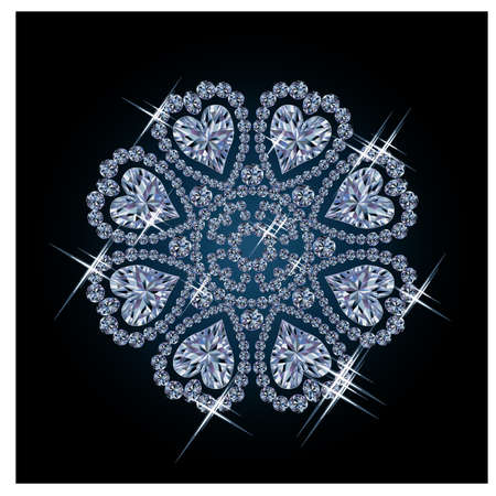 glitter hearts: Diamond flower with hearts