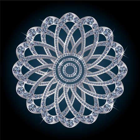 Silver diamond flower