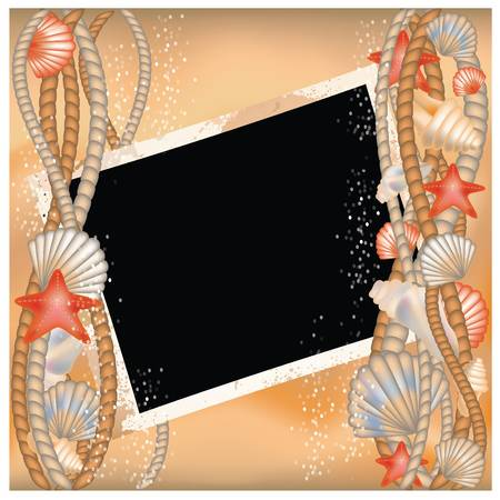 Photo frame with seashells in style scrapbooking Stock Vector - 14361108