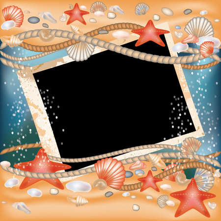 coastline: Tropical Photo frame in style scrapbooking Illustration