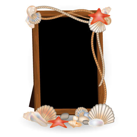 conch: Photo frame with seashells