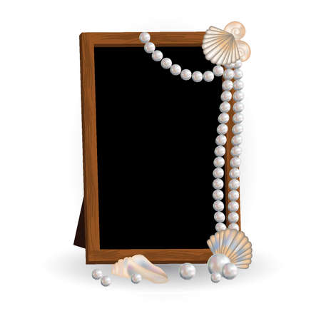 Photo frame with pearls Stock Vector - 14408361