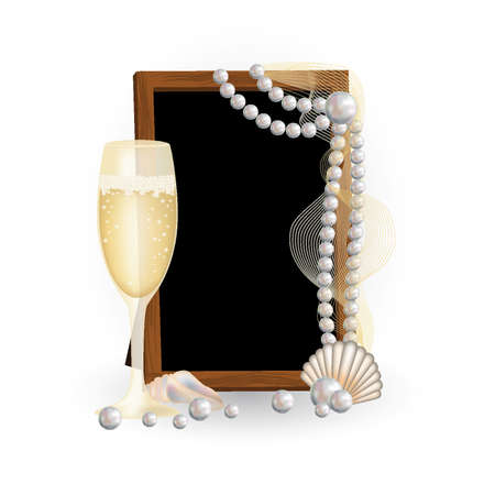 Photo frame with champagne and pearls, vector illustration Vector