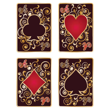 poker card: Black Poker Card Symbols, vector illustration