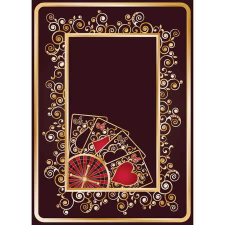 Casino background with poker cards and roulette, vector illustration Vector