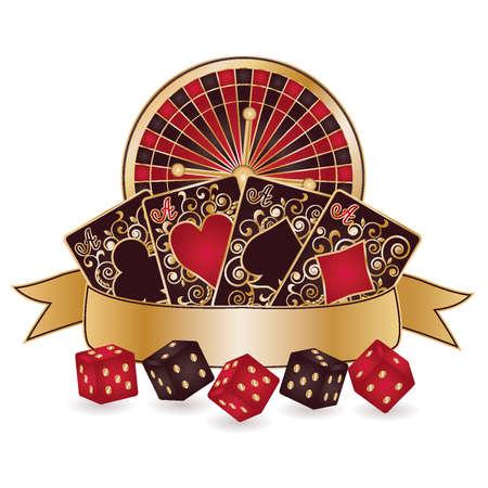 Casino thema geïsoleerd met roulette whel, poker kaarten vector illustratie