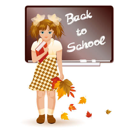 Back to school  Young girl with autumn leafs Stock Vector - 14649069