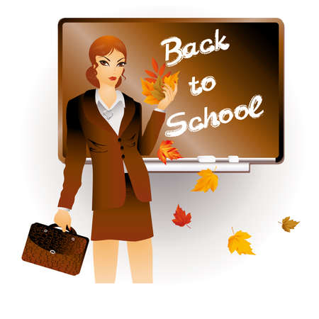 Back to school  The teacher with a portfolio and maple leaves Vector
