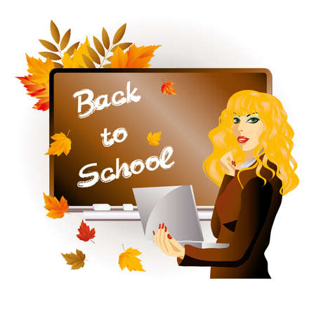 Back to school  The teacher with laptop Vector
