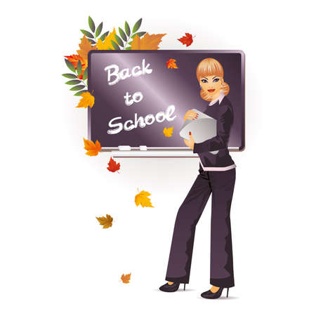 Back to school  The beautiful teacher with notebook  vector illustration Vector
