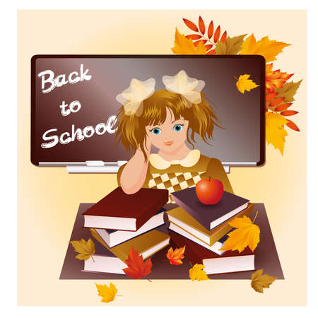 Back to school  Young girl with apple  vector illustration Vector