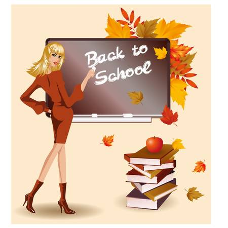 pedagogical: Back to school  Beautiful teacher and books  vector illustration Illustration