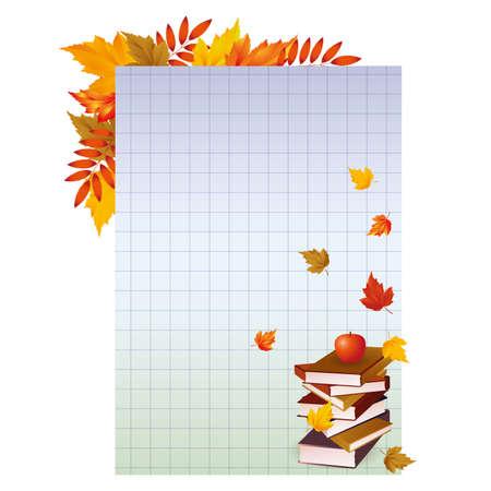 pedagogics: Back to school  Background with books and apple illustration Illustration