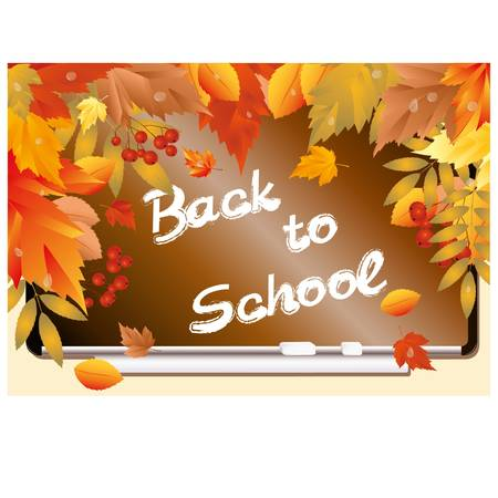 pedagogical: Back to school  Beautiful card with maple leafs   illustration