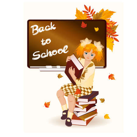 Back to school  Young schoolgirl with books  illustration Vector