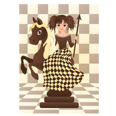 Little black chess horse,  illustration  Vector