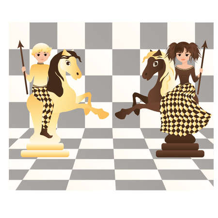 chess move: Little white and black chess horses, illustration