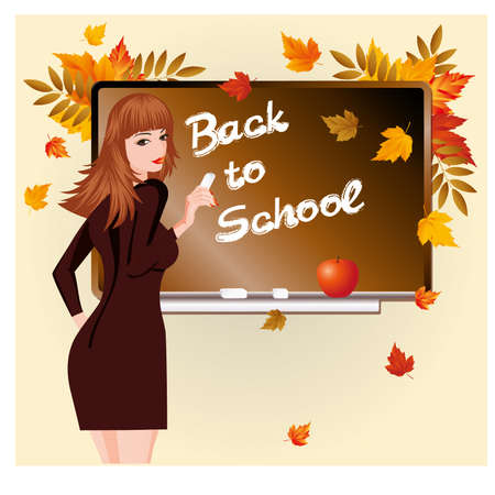 pedagogical: Back to school  Beautiful schoolteacher and apple