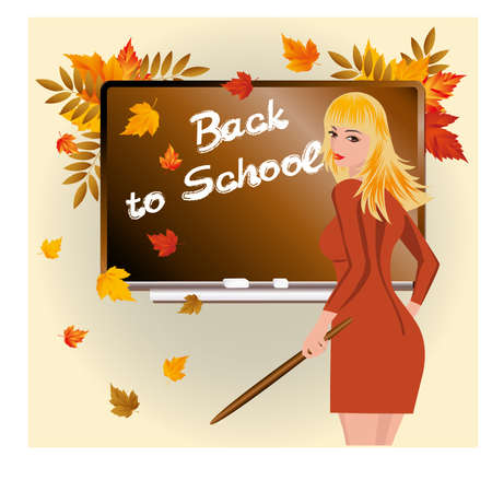 first grade: Back to school  Schoolteacher with pick device   illustration