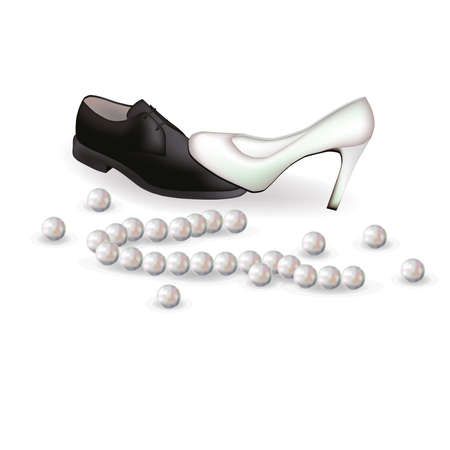 Wedding shoes and pearls,  illustration Vector